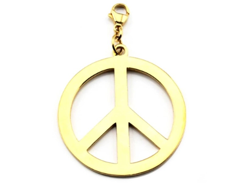 Product standard gp114   fourth avenue   large gold plated peace pendants    gold