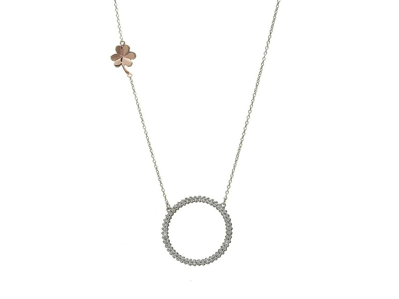 Product standard h 40008   fourth avenue   silver rose gold   cz shamrock pendants   silver
