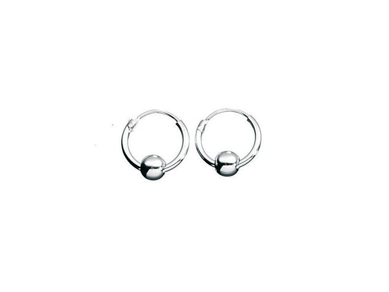 Fourth Avenue Silver Hoop & Ball Earrings