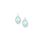 Thomas Sabo Silver & Cz Blue Oval Drop Earrings