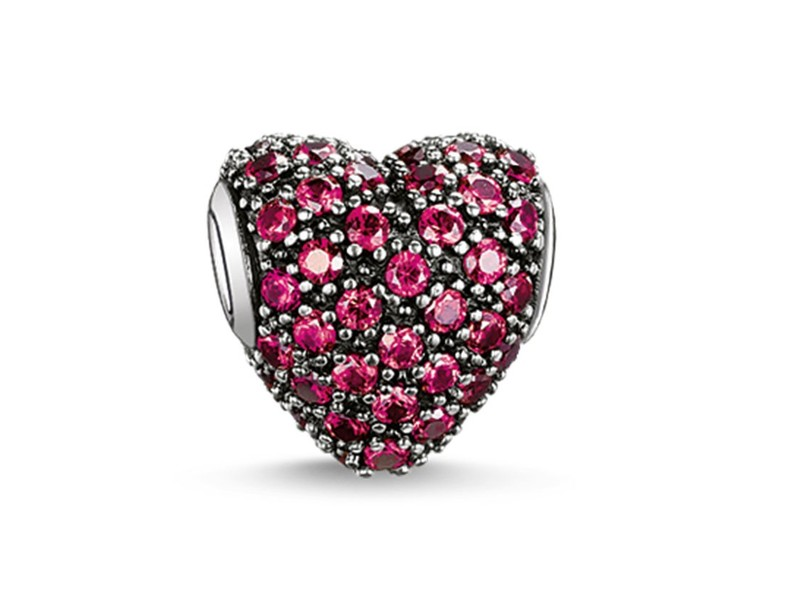 Product standard k0084 639 10   thomas sabo   ts silver   red cz heart bead    silver   4051245129366