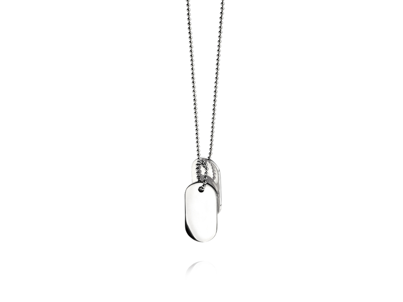 Fourth Avenue Stainless Steel Oval Dog Tags + Ball Chain
