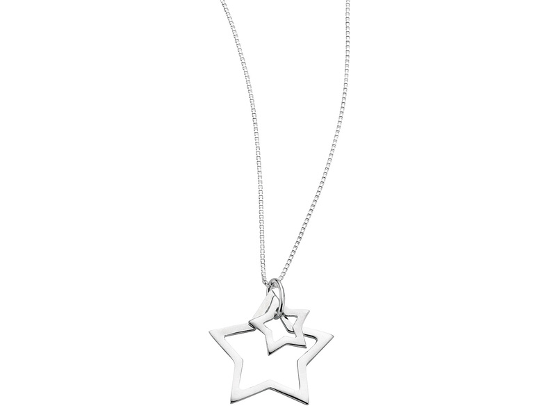 Product standard n2730   fourth avenue   our silver double star pendants %2b chain   silver   5055067180207
