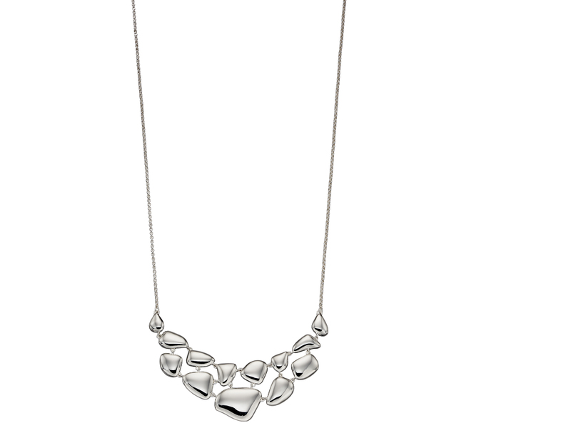 Product standard n4283   fourth avenue   our silver organic pebble necklaces    silver