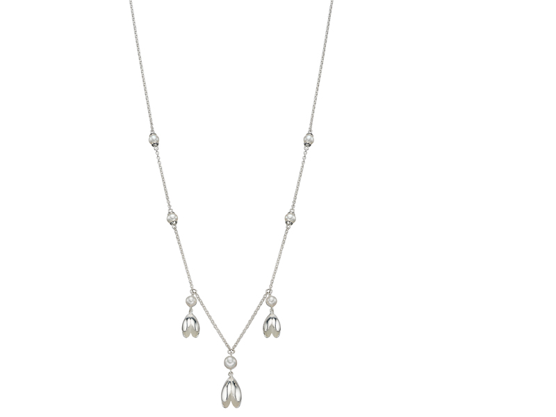 Product standard n4291w   fourth avenue   our silver   pearl tulip drop necklaces    silver