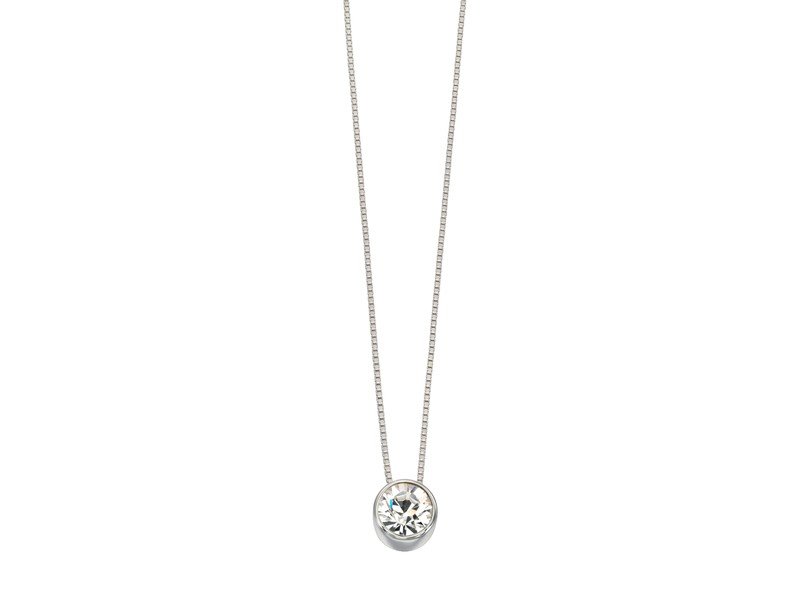 Product standard p4175c   fourth avenue   our silver   cz round pendants %2b chain   silver