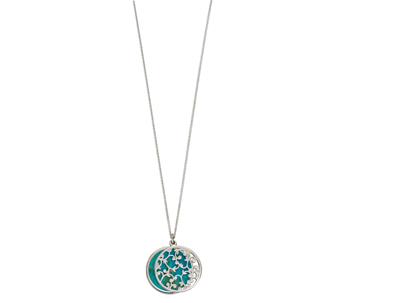 Product standard p4667t   fourth avenue   our silver   turquoise disk pendants   silver