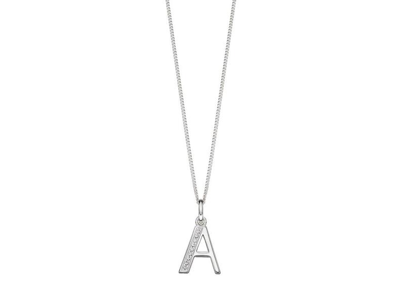 Product standard p4723c   fourth avenue   our silver   cz a pendants %2b chain   silver
