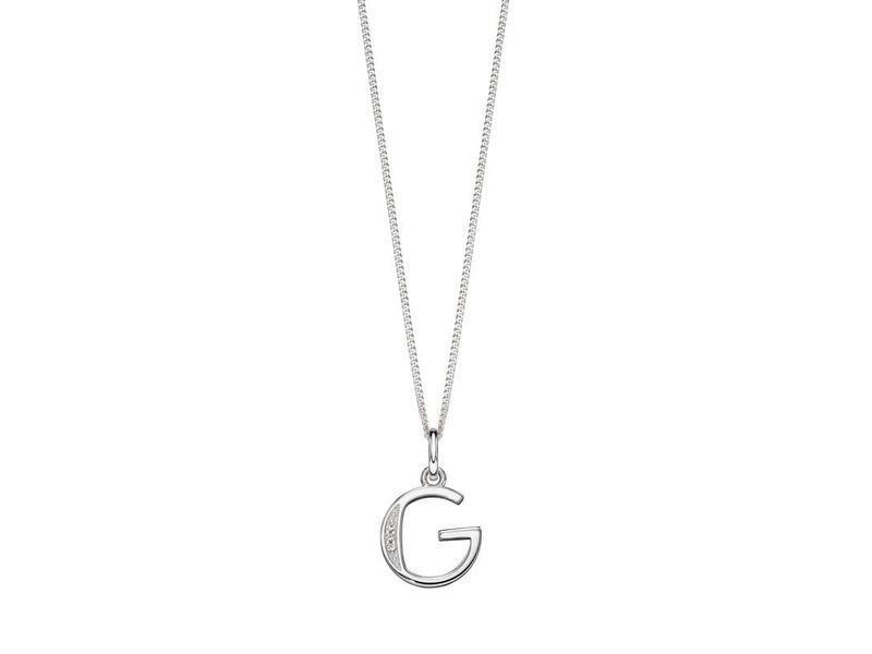 Fourth Avenue Silver & Cz G Pendant + Chain