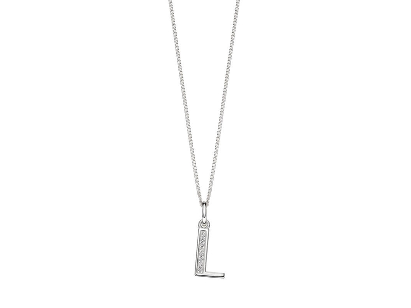 Product standard p4734c   fourth avenue   our silver   cz l pendants %2b chain   silver