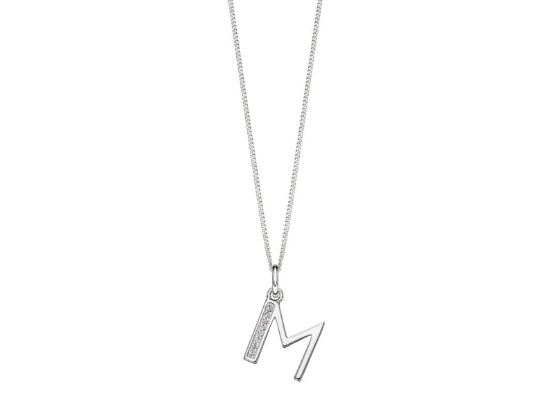 Product standard p4735c   fourth avenue   our silver   cz m pendants %2b chain   silver