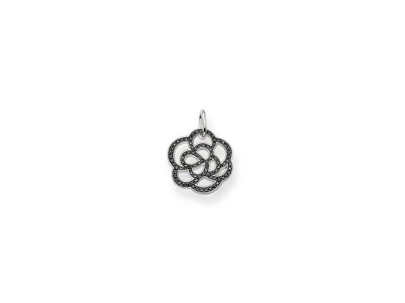 Product standard pe520 051 11   thomas sabo   ts silver   black cz flower pendants    silver   4051245055153