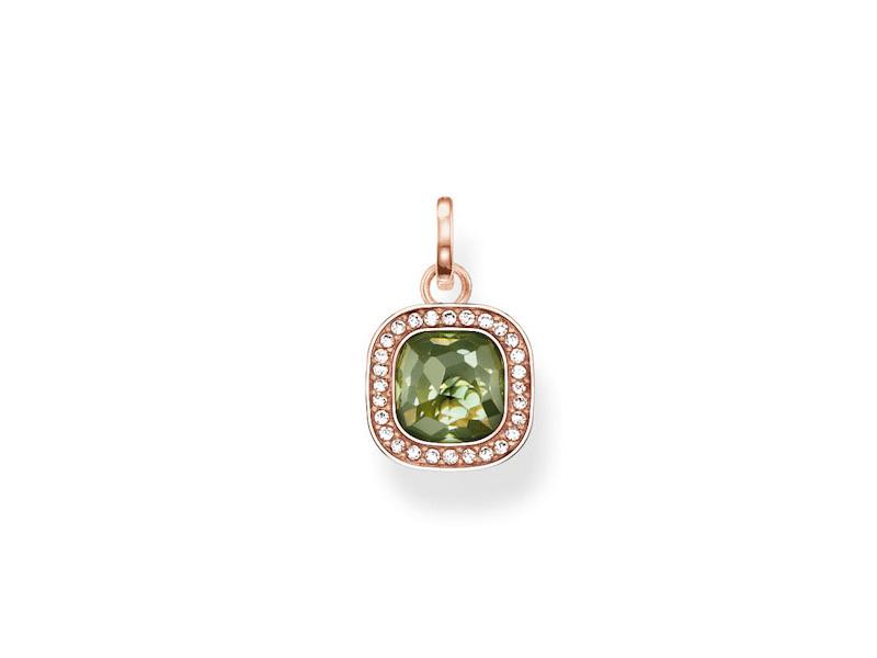 Product standard pe687 635 6   thomas sabo   ts rose gold   green cz square pendants   rose gold   4051245130249