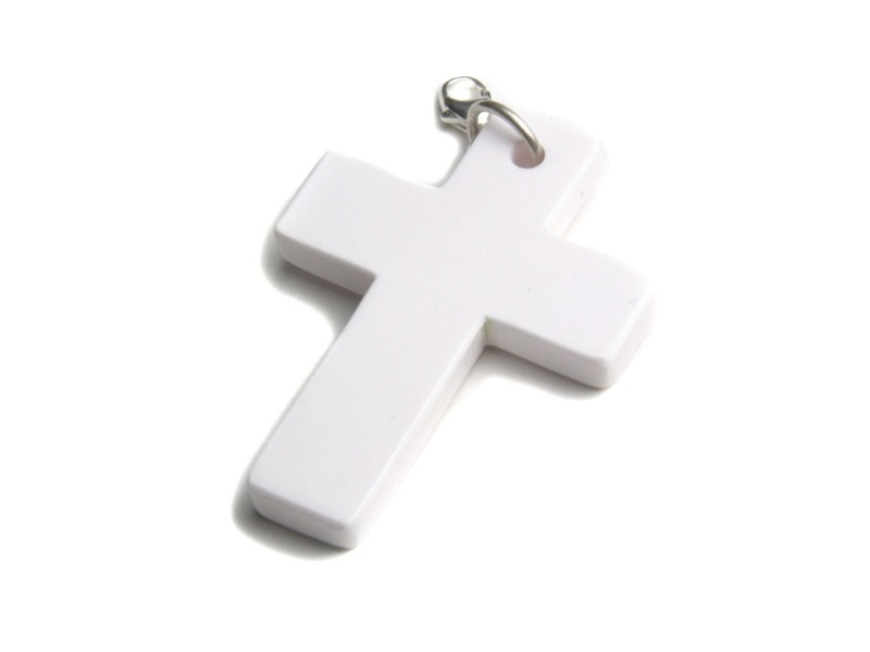 Product standard pewrc   fourth avenue   silver white enamel cross pendants    silver