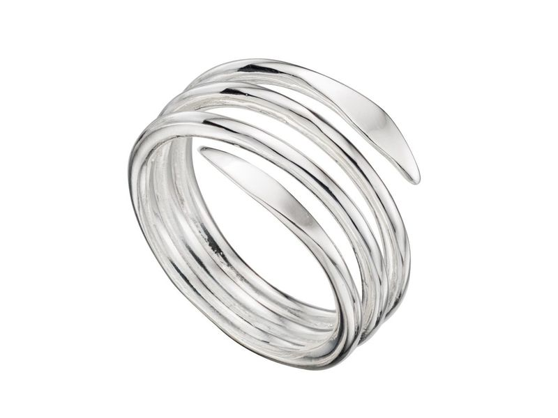 Product standard r3362   fourth avenue   our silver wrap around coil ring    silver
