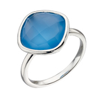 Fourth Avenue Silver & Faceted Blue Chalcedony Ring