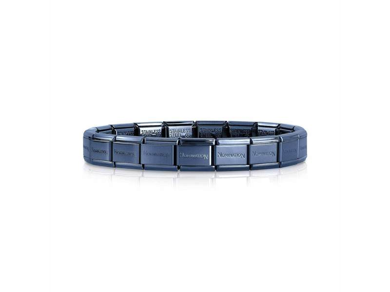 Product standard single blue   nomination italy   composable blue links    stainless steel