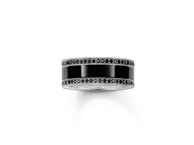 Product standard tr1995 647 11 56   thomas sabo   ts silver   cz black ceramic ring    silver   4051245130300