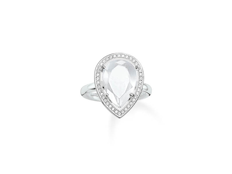 Product standard tr2043 690 14 54   thomas sabo   ts silver   cz white pear cocktail ring    silver