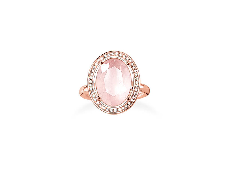 Product standard tr2044 537 9 54   thomas sabo   ts rose gold   cz  pink oval cocktail ring   rose gold