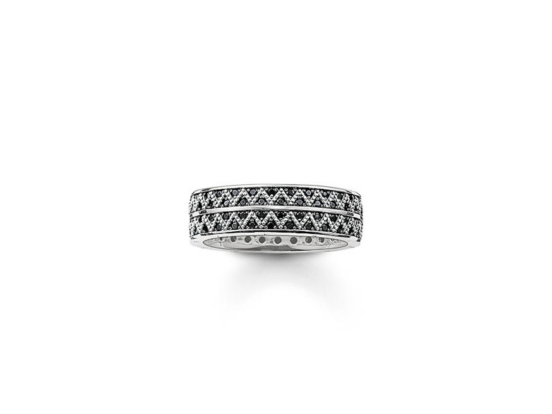 Product standard tr2051 643 11 62   thomas sabo   ts silver   cz black band ring    silver