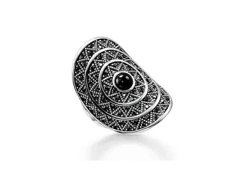 Product standard tr2053 641 11 54   thomas sabo   ts silver   cz black sombrero ring    silver