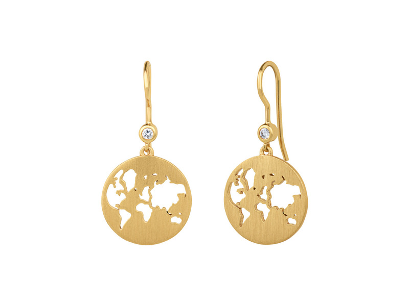 Product standard beautiful world earrings gold bybiehl