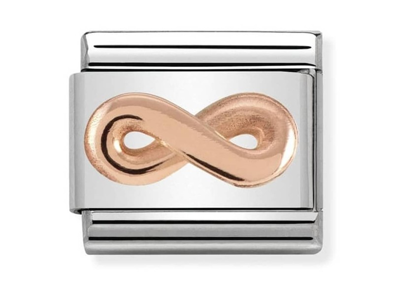 Product standard nomination relief rose gold plated infinity charm 430106 03 1 1