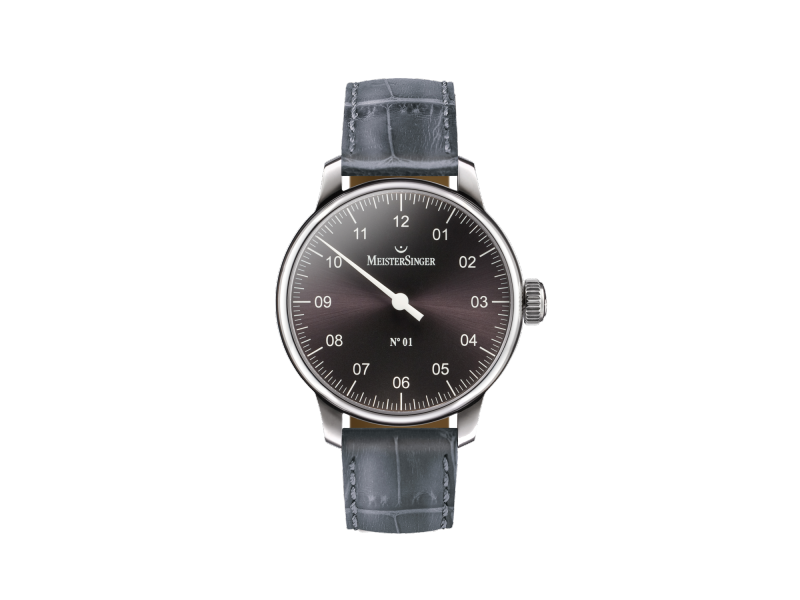 Product standard am3307   meistersinger gents single hand black leather watch    stainless steel