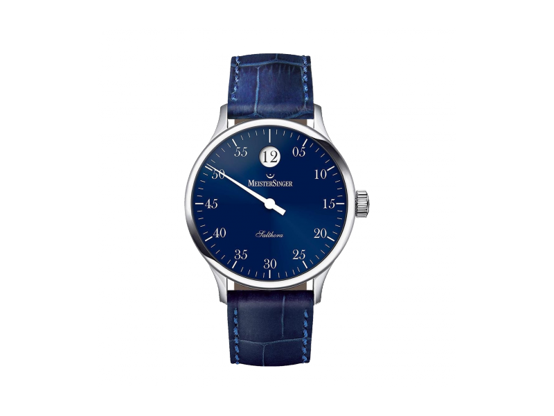 Product standard sh908   meisersinger gents salthora blue jumping hour watch    stainless steel