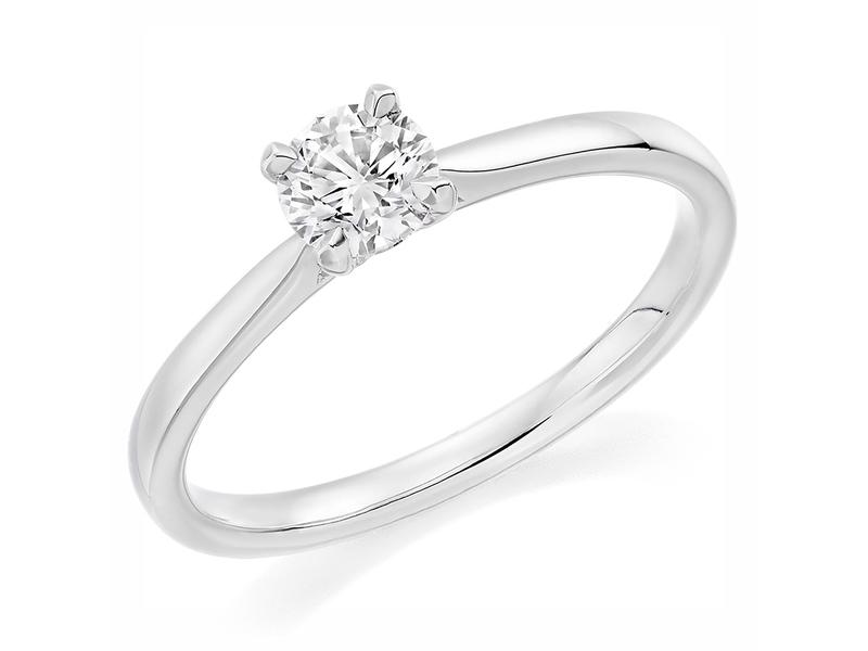 Palladium Affordable Certified 0.40ct Brilliant Cut Diamond Engagement Ring
