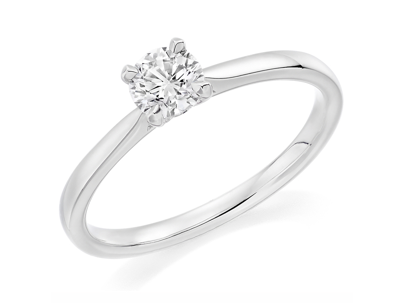 Palladium Affordable Certified 0.51ct Brilliant Cut Diamond Engagement Ring