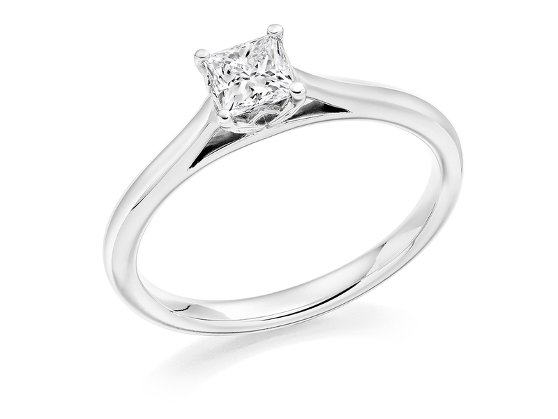 Product standard 2x2e0m7e3g09 9 ct white gold certified 0.40ct princess cut diamond solitaire white gold unique windor precious quality promise dipple engagement ring