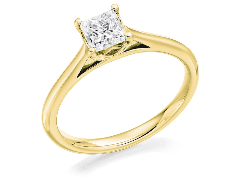 Product standard 2x2e0m7e4g09 9 ct gold certified 0.50ct princess cut diamond solitaire yellow gold unique windor precious quality promise dipple engagement ring