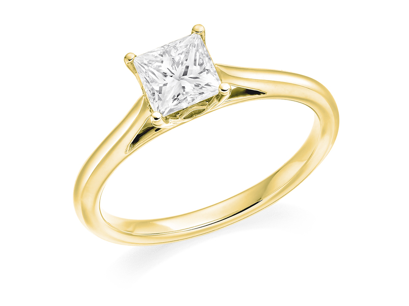 Product standard 2x2e0m7e6g09 9 ct gold certified 0.75ct princess cut diamond solitaire yellow gold unique windor precious quality promise dipple engagement ring