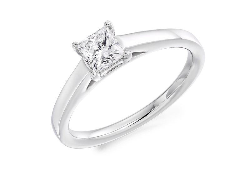 Product standard x4e4m0e0g09 9 ct white gold certified 0.50ct princess cut diamond solitaire white gold unique windor precious quality promise dipple engagement ring