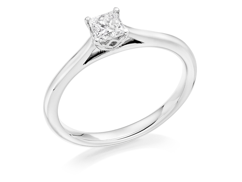 Product standard 2x2e0m7e2g09 9 ct white gold certified 0.33ct princess cut diamond solitaire white gold unique windor precious quality promise dipple engagement ring