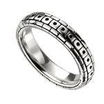 Men's Oxidised Pattern Ring In Hallmarked 925 Sterling Silver