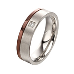 Steel ring with IP brown stripe