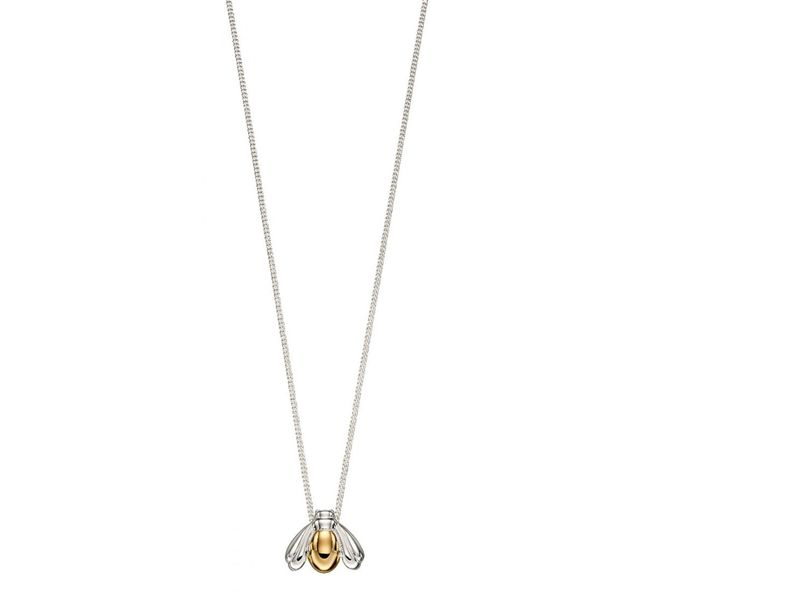 Product standard z1281 yellow gold plated bee necklace