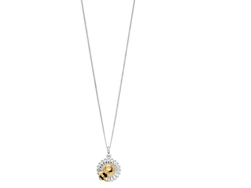 Product standard z1300 gold plated bee   flower necklace