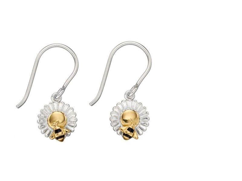 Product standard z1301 gold plated bee   flower drop earrings