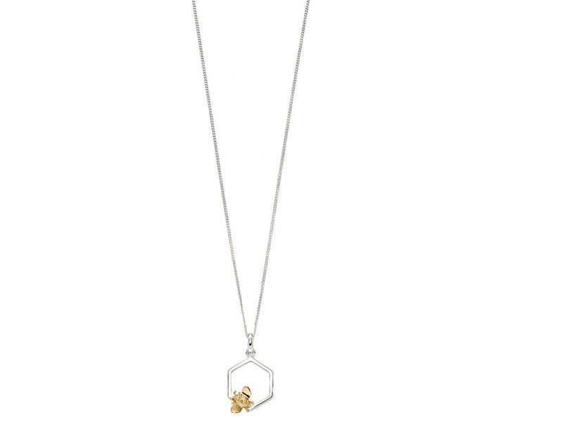 Product standard z1302 single honeycomb   gold plated bee necklace