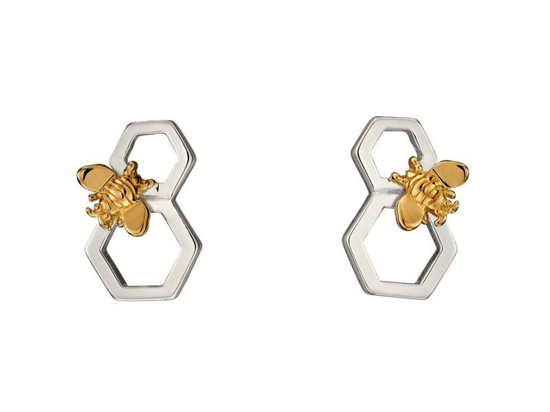 Product standard z1276 honeycomb   gold plated bee earrings
