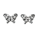 Fourth Avenue Silver Oxidised Butterfly Stud Earrings