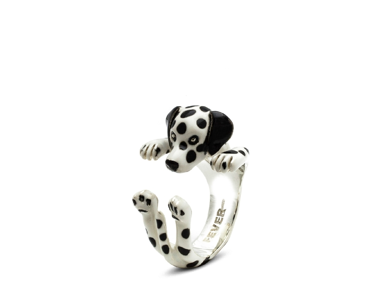Product standard enamelled hug ring dalmatian