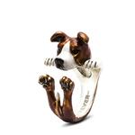 Dog Fever Sterling Silver American Staffy Hug Ring