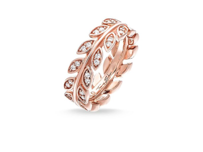 Rose Gold Cubic Zirconia Leaf Ring Size P