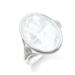 Silver White CZ Cocktail Ring Size N