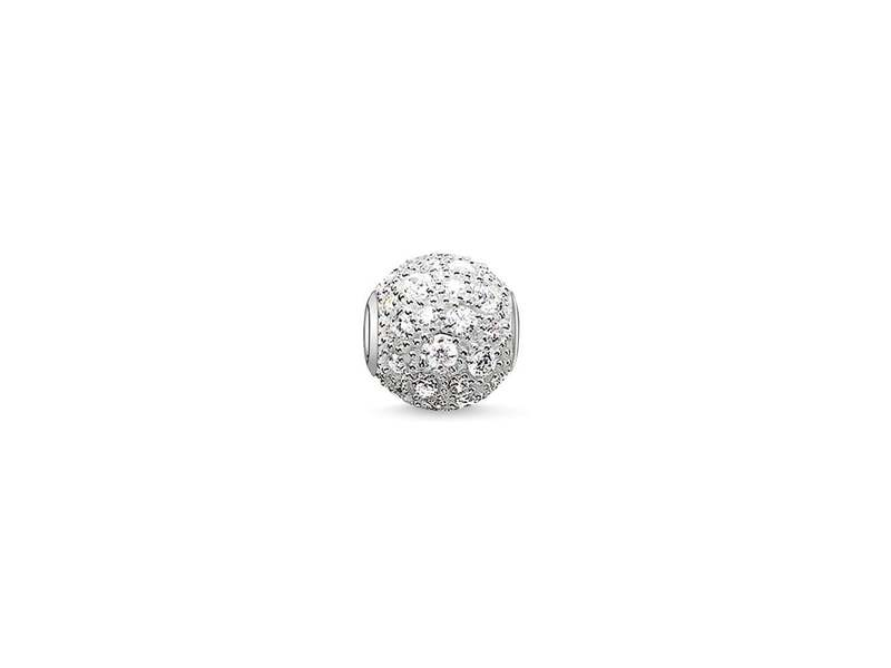 Silver and White Crushed Cubic Zirconia Bead